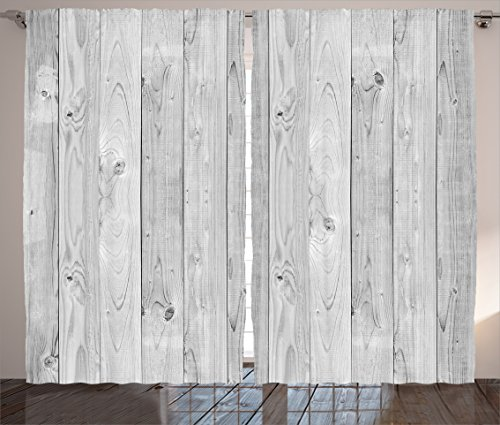 Ambesonne Grey Decor Collection, Picture of Smooth Oak Wood Texture in Old Fashion Retro Style Horizontal Nature Design Home Print, Living Room Bedroom Curtain 2 Panels Set, 108 X 84 Inches, Gray