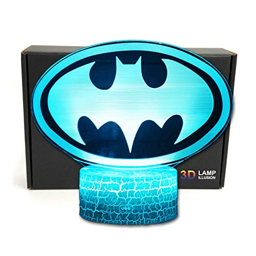 LED Superhero 3D Optical Illusion Smart 7 Colors Night Light Table Lamp with USB Power Cable (Batman Logo)