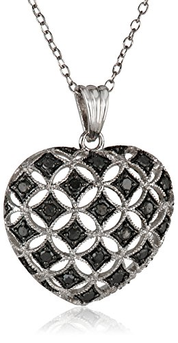 Sterling silver black diamond heart pendant necklace 50 cttw 18 sterling silver black diamond heart pendant necklace 50 cttw 18 black diamonds jewelry aloadofball Image collections
