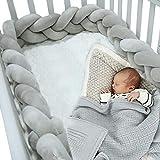 Braided Crib Bumper Grey Guards Baby Braided Knot Crib Bumper Liner Multifunctional Leg Pillow Stroller Cushion (Gray, 3 Meters/118 Inch)