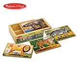 "Melissa & Doug Wild Animals Jigsaw Puzzles in a Box (Four Wooden Puzzles, Beautiful Artwork, Sturdy Wooden Storage Box, 48 Pieces, 8"" H x 6"" W x 2.5"" L)"