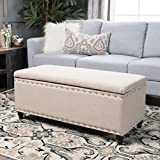 Christopher Knight Home 300238 Living Dynasty Fabric Storage Ottoman (Wheat) D x 42.00' W x 18.25' H