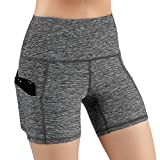 ODODOS High Waist Out Pocket Yoga Short Tummy Control Workout Running Athletic Non See-Through Yoga Shorts,GrayHeather,Large