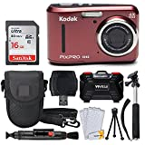 Kodak PIXPRO FZ43 Digital Camera (Red) + 16GB Memory Card + Deluxe Point and Shoot Camera Case + Extendable Monopod + Lens Cleaning Pen + LCD Screen Protectors + Table Top Tripod - Top Valued Bundle