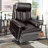Merax Power Lift Chair Electric Recliner PU Leather Lift Recliner Chair Heavy Duty Steel Reclining Mechanism (Brown Leather)