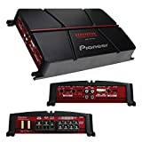 Pioneer GM-A6704 4-Channel Bridgeable Amplifier with Bass Boost,Black/red