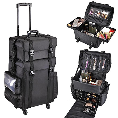 AW 2in1 Black Soft Sided Rolling Makeup Case Oxford Fabric Cosmetic 15x11x25