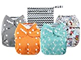 Anmababy 4 Pack Adjustable Size Waterproof Washable Pocket Cloth Diapers with 4 Inserts and Wet Bag(Blue)