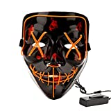 Halloween Costume Festival Parties Scary Mask LED Light Up Masks Orange
