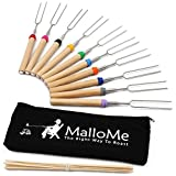 MalloMe Marshmallow Roasting Sticks Set of 10 Telescoping Rotating Smores Skewers & Hot Dog Fork 32 Inch Kids Camping Campfire Fire Pit Accessories | Free Pouch, 10 Bamboo & Marshmallow Sticks Ebook