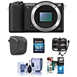 Sony Alpha A5100 Mirrorless Digital Camera Body, Bundle with Camera Case, 16GB Class 10 SDHC Card, Cleaning Kit, Memory Wallet, PC Software Package