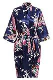 USDisc't Elegant Women's Kimono Robe for Parties Bridal and Bridesmaid Short (L, NavyBlue)