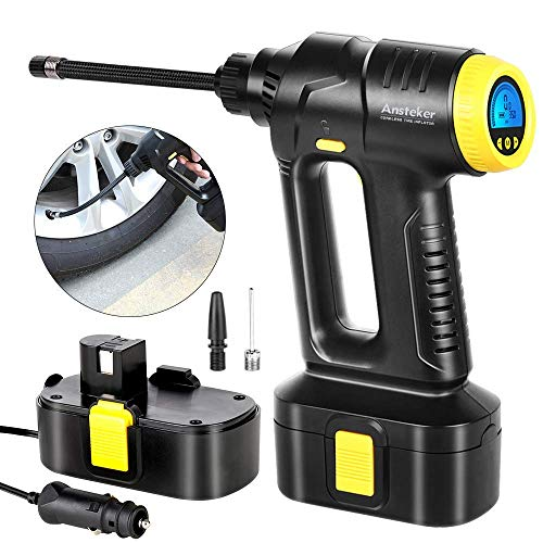 Cordless Air Compressor, Ansteker Portable Tire Inflator, Hand Held Air Pump with Digital LCD Rechargeable Li-ion 12V