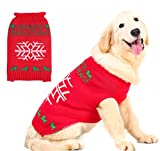 PUPTECK Ugly Christmas Dog Sweater Holiday - Snowflake Style Pet Festive Coat Puppy Winter Clothes Red Large