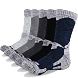 YUEDGE 5 Pairs Men's Cushion Crew Socks Outdoor Recreation Performance Walking Trekking Climbing Camping Hiking Socks (XL)