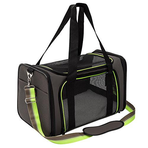 Aivituvin Soft-Sided Pet Carrier for Dog and Cats, Pet Travel Carrier, Collapsible for Puppy Up to 20lbs, Extra Spacious Portable Dog Crate Kennel for Kittens, Green