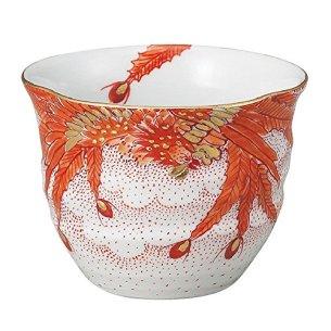 Jpanese traditional ceramic Kutani ware. Guinomi Sake cup. Phoenix. With wooden box. ktn-K5-2092