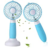 Allkeys Personal Handheld Fan, Battery Operated Mini Fan Portable Rechargeable USB with 3 Speeds for Home Office Outdoors Travel (Blue)