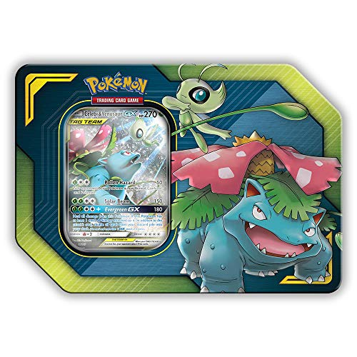 Pokemon Tag Team Tin Celebi & Venusaur-GX- TCG: Sun & Moon Box- 4 Booster Packs + 1 Foil Art Celebi & Venusaur-GX Foil Card