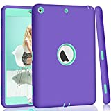 Hocase iPad 5th/6th Generation Case, iPad 9.7 2018/2017 Case, High-Impact Shock Absorbent Dual Layer Silicone+Hard PC Bumper Protective Case for iPad A1893/A1954/A1822/A1823 - Purple