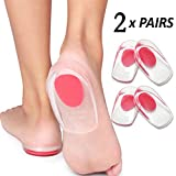 Heel Cups Plantar Fasciitis Inserts - 4pcs Silicone Gel Heel Cup Pads for Heel Spur and Pain Relieve by PIMIMIIES (Women)