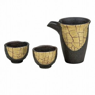 Jpanese traditional ceramic Kutani ware. Sake Tokkuri bottle and sake cups. Sake set. Golden leaves. With paper box. ktn-K5-1181