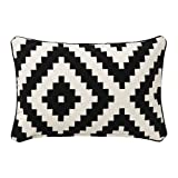 "Ikea Lappljung Ruta Modern Graphic 16"" x 26"" Cushion Cover, Black & White"