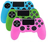YTTL 3 Pack Glow in Dark PlayStation 4 Controller PlayStation 4 Gamepads PS4 Controller Glow-in-the-Dark Silicone Protective Skin Case Cover Sony PS4--Blue/Green/Pink
