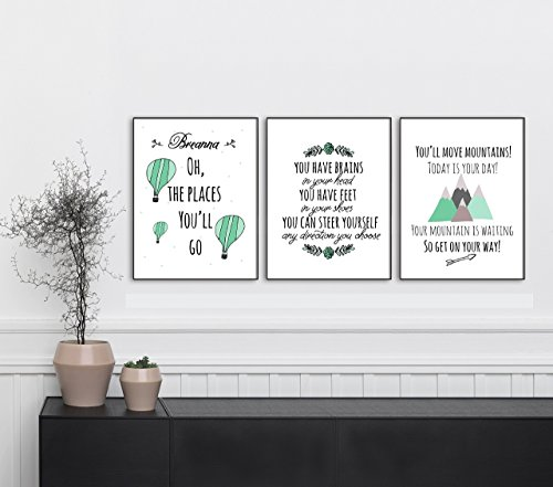 Custom Wall Prints - Set of 3 - Oh, The Places You'll Go - Digital 8x10 Wall Prints