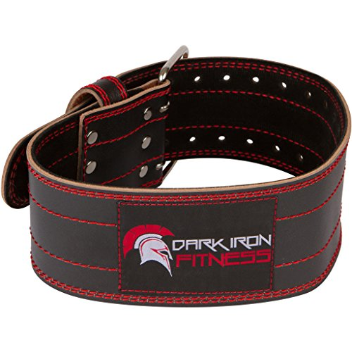 Dark Iron Fitness Genuine Leather Pro Weight Lifting Belt for Men and Women – Durable Comfortable and Adjustable with Buckle – Stabilizing Lower Back Support for Weightlifting