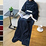 PAVILIA Deluxe Fleece Blanket with Sleeves for Adult, Men, and Women| Elegant, Cozy, Warm, Extra Soft, Plush, Functional, Lightweight Wearable Throw (Navy)