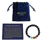 Believe London Chakra Bracelet with Jewelry Bag & Meaning Card | Adjustable Bracelet to Fit Any Wrist | 7 Chakra Natural Stone | Healing Reiki Yoga (6.5 Inch Bracelet)