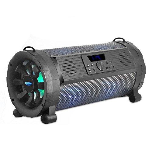 Pyle Bluetooth Boombox Street Blaster Stereo Speaker - Portable Wireless 300 Watt Power FM Radio / MP3 System w/ Remote, LED Lights & Rechargeable battery - PBMSPG190