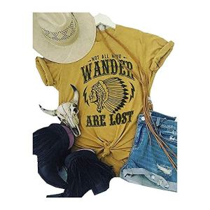 Women Compass Graphic Tee Not All Who Wander are Lost Print Shirt Baseball Casual Tops