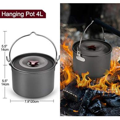 Odoland-22pcs-Camping-Cookware-Mess-Kit-Large-Size-Hanging-Pot-Pan-Kettle-with-Base-Cook-Set-for-4-Cups-Dishes-Forks-Spoons-Kit-for-Outdoor-Camping-Hiking-and-Picnic