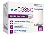 Dekor Classic Diaper Pail Refills | Most Economical Refill System | Quick & Easy to Replace | No Preset Bag Size – Use Only What You Need | Exclusive End-of-Liner Marking | Baby Powder Scent | 2 Count