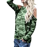 Product review of ▼Londony▼ Women's Clearance Sale, Camouflage Long Sleeve Cold Shoulder Tops T-Shirt O-Neck Blouse in