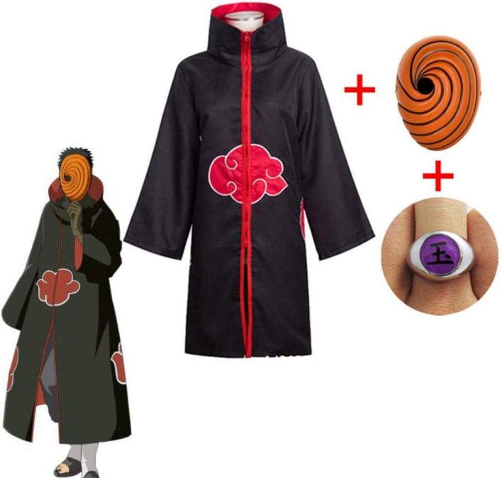 Naruto Tobi Obito Disfraz de Cosplay Akatsuki Capa de manga larga Carnaval de Halloween Disfraz de Cosplay para adultos divertido