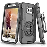 BENTOBEN Cases for Samsung Galaxy S6, Case for Samsung S6, Heavy Duty Kicstand Swivel Belt Clip Hybrid Shockproof Holster Protective Case for Galaxy S6,Black
