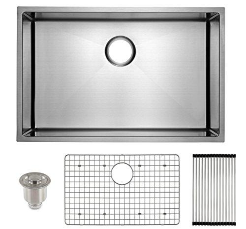 """Frigidaire Undermount Stainless Steel Kitchen Sink, 10mm Radius Corners, 16 Gauge, Deep Basin, 27"""""""