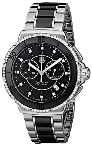51USAZ0RuuL Round watch featuring diamonds inset at bezel and hour markers and black dial with 60-second topring and dual chronograph subdials 41 mm stainless steel case with anti-reflective sapphire dial window Swiss quartz movement with analog display