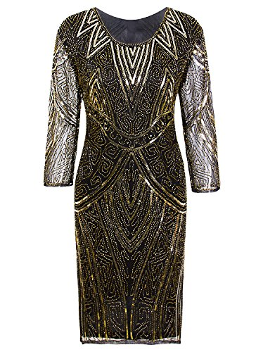 814e69d5 Vijiv Women 1920s Gastby Beaded Sequin 3/4 Sleeve Art Deco Embellished  Flapper Dress