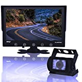 Backup Rearview Camera Monitor System - Car Truck Reverse Parking Waterproof Monitor Kit w/ 9' LCD Display Monitor, Night Vision, Anti-Glare, for Truck, Trailer, Vans, DC 12-24V - Pyle