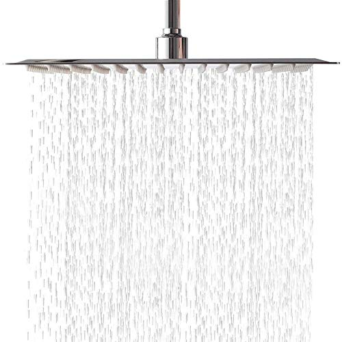 LORDEAR F01082CH Solid Square Ultra Thin 304 Stainless Steel 12 Inch Adjustable Rain Shower Head with Polish Chrome,Waterfall Full Body Coverage with Silicone Nozzle Easy to Clean and Install