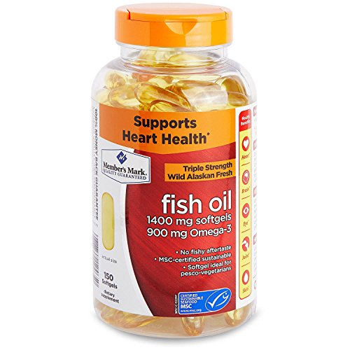 Member's Mark Enteric Triple Strength Fish Oil 1400mg Softgels 900mg Omega-3 DHA EPA (1 bottle (150 softgels)) by Members Mark
