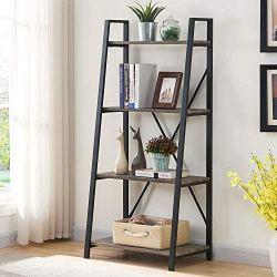 BON AUGURE Ladder Shelf 4 Tier Leaning Industrial Bookshelf, Rustic Wood Metal Ladder Bookcase, Standing Storage Book…