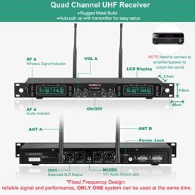 Wireless-Microphone-System-Phenyx-Pro-4-Channel-UHF-Cordless-Mic-Set-With-Four-Handheld-Mics-All-Metal-Build-Fixed-Frequency-Long-Range-260ft-Ideal-for-ChurchKaraokeWeddings-Events-PTU-5000A