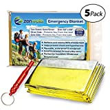 Zenwells Solar Blankets - 5-Pack Mylar Thermal First Aid Blanket for Emergency Survival Kit, Car Tactical Gear, Outdoor, Hiking, Backpack, Travel, Disaster Preparedness Equipment Plus Whistle!