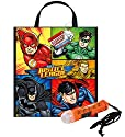 """Justice League"" Featuring Batman & Superman Happy Halloween Trick or Treat Candy Loot Bag!! Plus Bonus ""Safety First"" Mini Halloween Flashlight Necklace!"