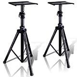 Pyle Dual Studio Monitor 2 Speaker Stand Mount Kit - Heavy Duty Tripod Pair and Adjustable Height from 34.0' to 53.0' w/ Metal Platform Base - Easy Mobility Safety PIN for Structural Stability PSTND32